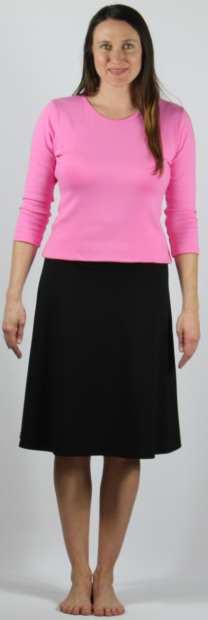 """A-line flippy skirt, ponte knit.  Model is 5'8"""", wearing size small."""