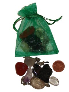 Set of some of the best stones for safe travel in a green organza pouch - Free info on properties and how to use with purchase - Free shipping over $60.