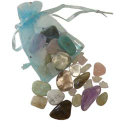 Set of the best stones for stress & anxiety in a turquoise pouch – Free info on properties of each stone & how to use with purchase – Free shipping over $60.