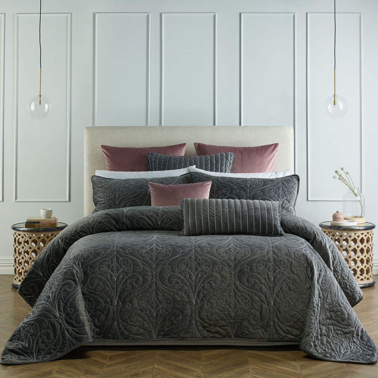Bianca Single / Double Bed Genevieve Coal Coverlet Set | My Linen