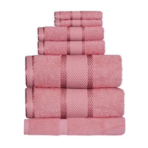 100% Cotton Rose Pink 7pc Bath Sheet Set