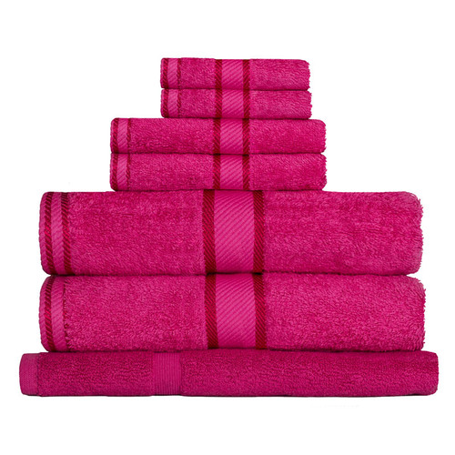 100% Cotton Fuchsia / Hot Pink 7pc Bath Towel Set