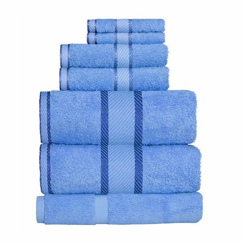 100% Cotton Blue 7pc Bath Sheet Set