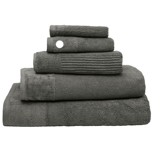 100% Cotton Costa Pewter Ribbed Hand Towel