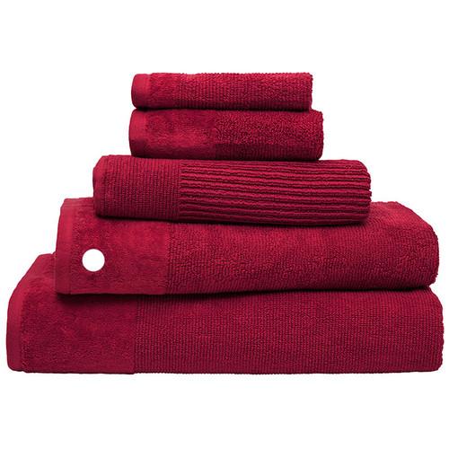 100% Cotton Costa Raspberry Ribbed Bath Towel