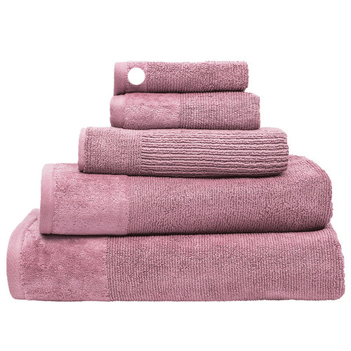 100% Cotton Costa Dusk Pink Ribbed Face Washer | My Linen