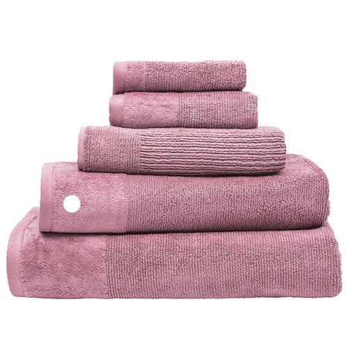 100% Cotton Costa Dusk Pink Ribbed Bath Towel   My Linen