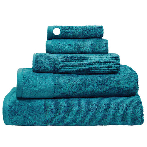 100% Cotton Costa Teal Ribbed Face Washer | My Linen