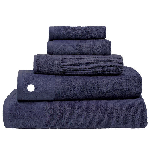 100% Cotton Costa Ink Blue Ribbed Bath Towel | My Linen