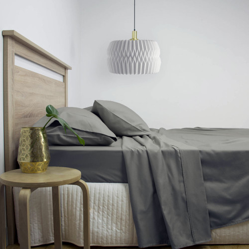 Gold Label Cotton Rich King Bed Sheet Set 3000TC Charcoal | My Linen