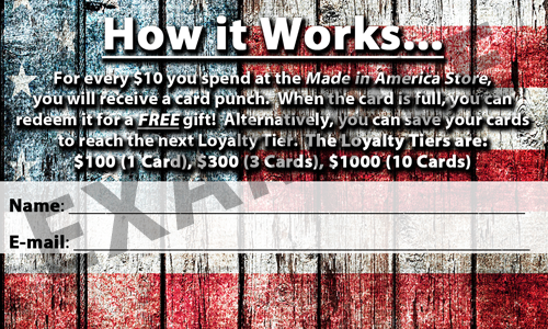 The All American Rewards Card (Back)