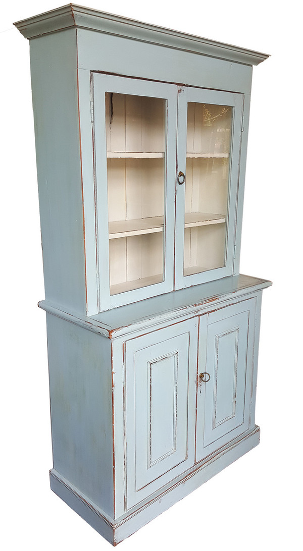 Antique Hutch in Pale Blue - Antique Pine Hutch In Warm Pale Blue From Sonoma Nesting Company
