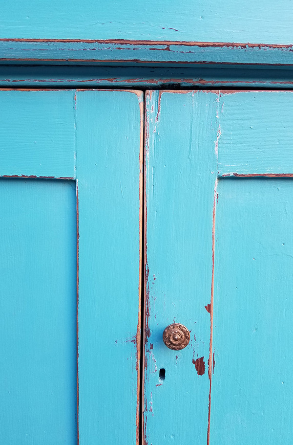 Antique Hutch in Aqua and Yellow Bottom Cabinet Detail
