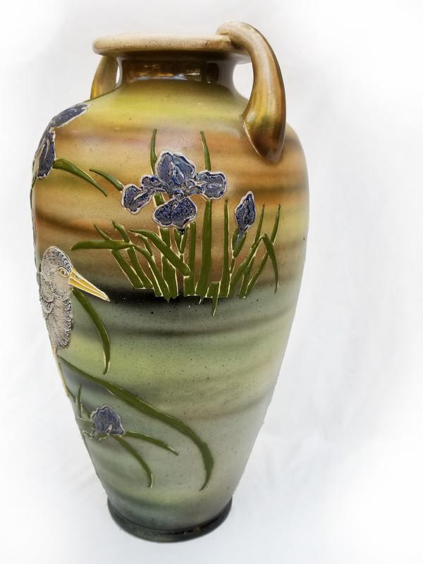 Bird and Iris Ceramic Vase quarter turn