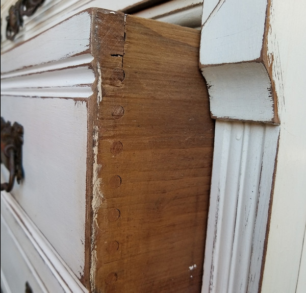 Eastlake Marble Top Dresser open drawer detail