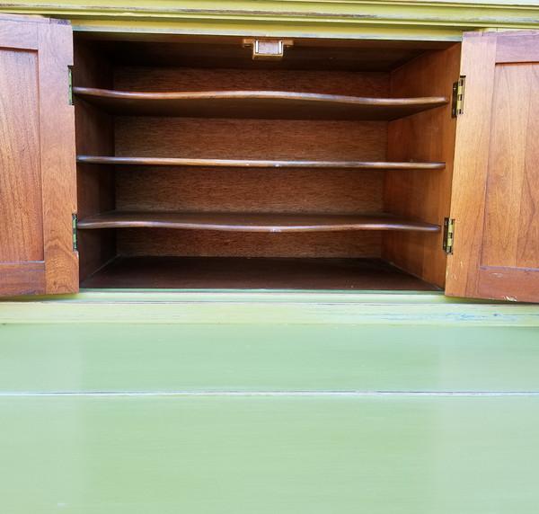 Olive Green Secretary open cabinet doors
