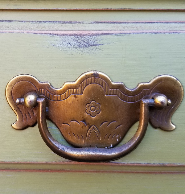 Olive Green Secretary hardware detail
