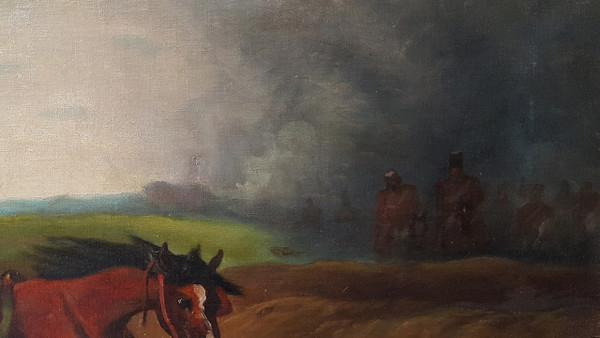 Battle - Orientalist Style Oil on Canvas