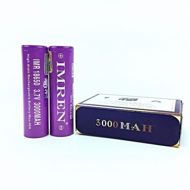 IMREN 18650 3000mah 40a 2pc. (Flat Top/Purple)
