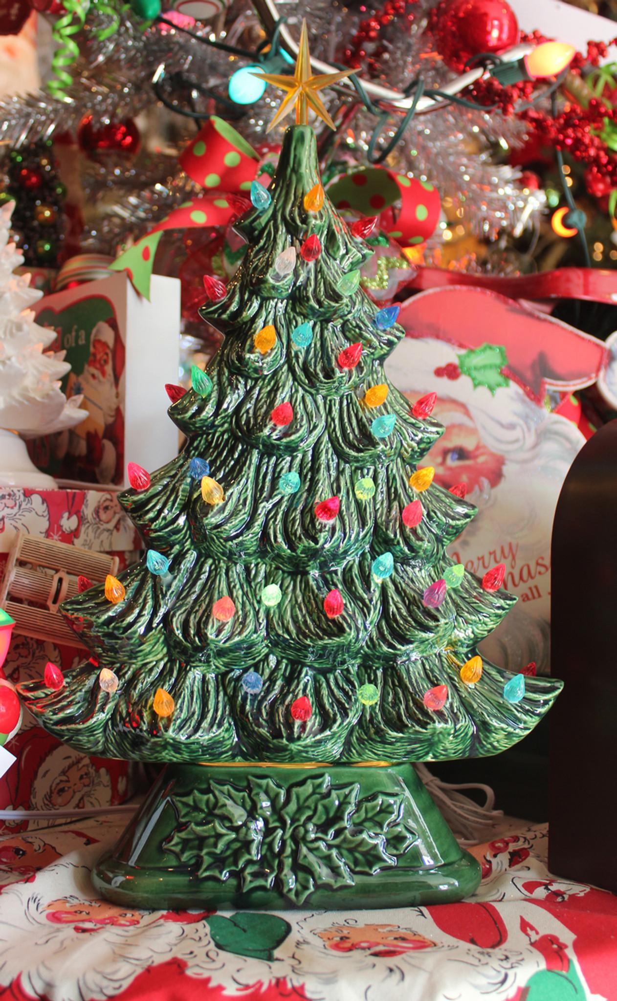 "Large Flat Ceramic Lighted Window or Mantel Christmas Tree 19"""
