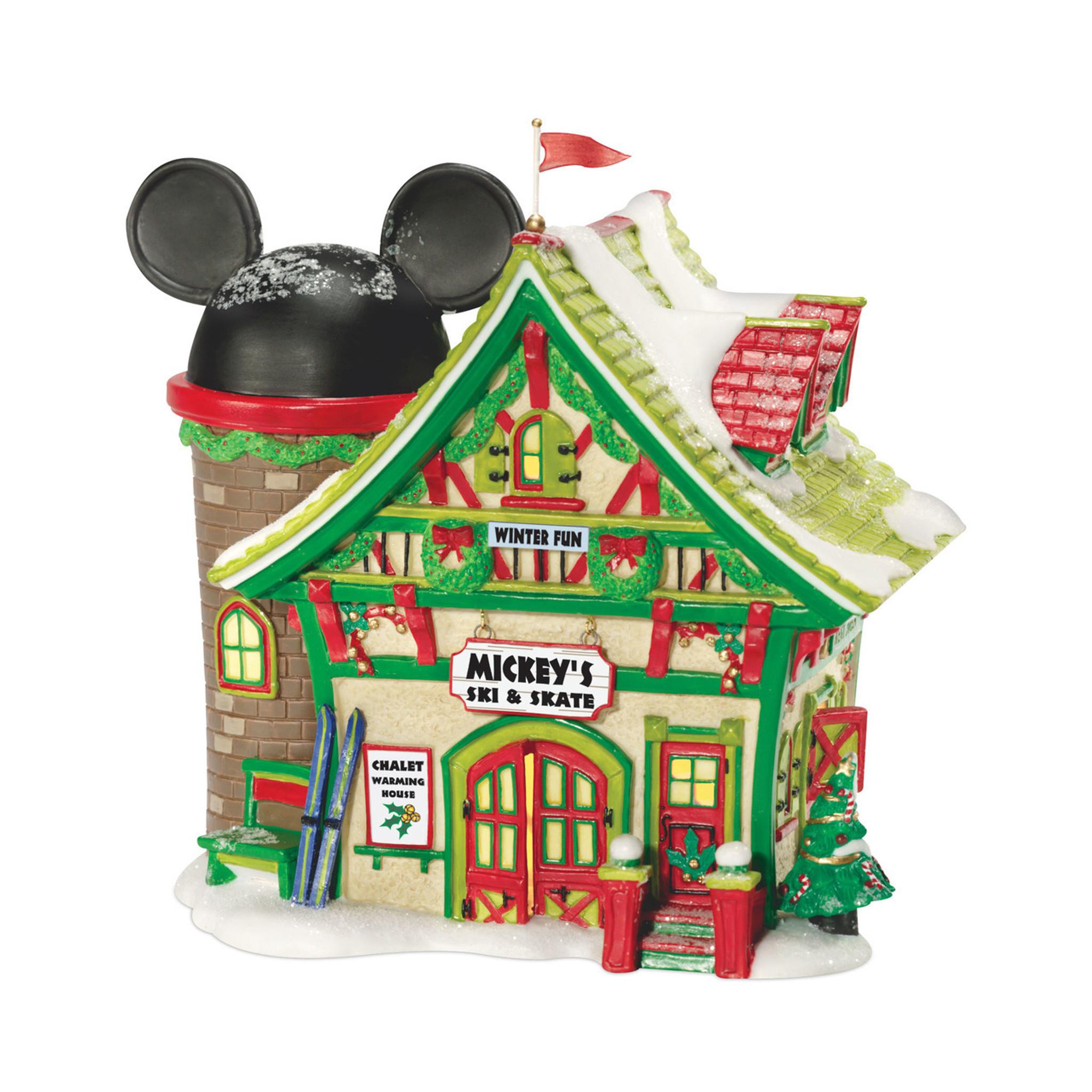 department 56 disney christmas village mickeys ski and skate building 811263
