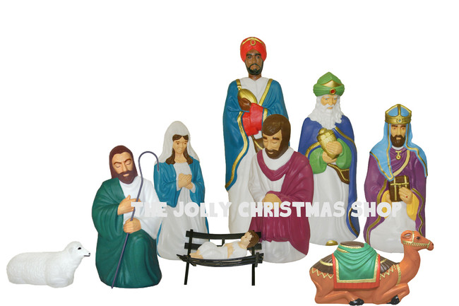 Blow Mold Life Size Christmas Nativity 10pc Set