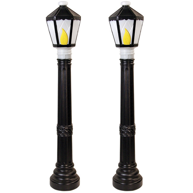 Set of 2 Black Lamp Post Lighted Christmas Blow Molds  C5051