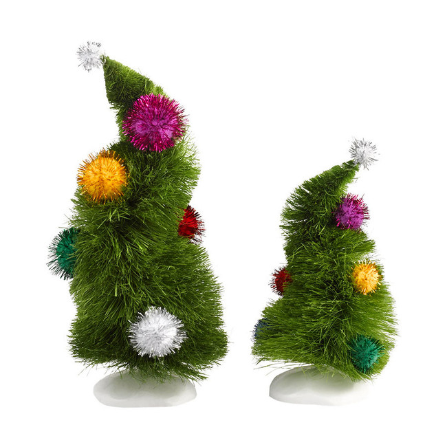 Department 56 Grinch  Village Accessories  Wonky Trees Set of 2 4032417