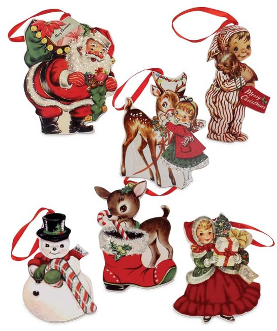Bethany Lowe Retro-Inspired Christmas Ornament RL6847 6 Assorted