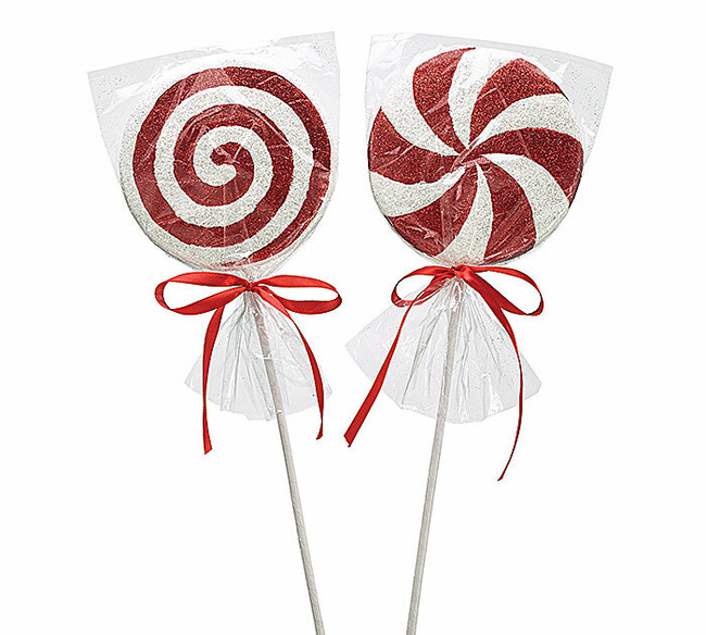 """18"""" Red and White Peppermint Christmas Tree Pick 2 Assorted 9728668"""