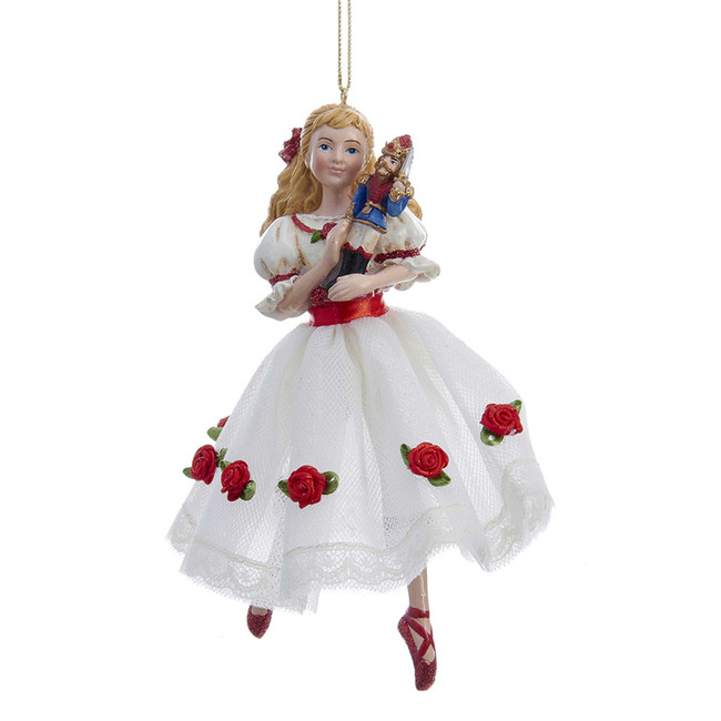 "Kurt Adler 6"" The Nutcracker Suite Clara in Cloth Dress Christmas Ornament C9252"