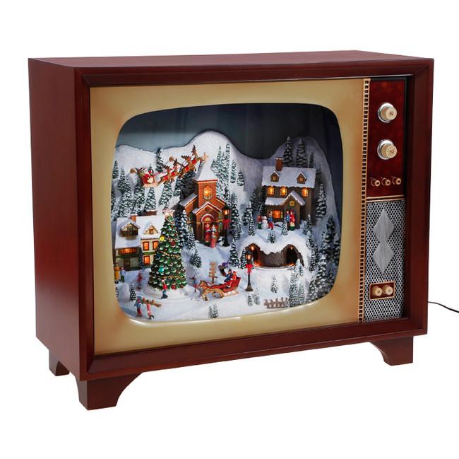 "Raz 23"" Large Animated Musical Lighted Retro TV with Village Scene 3716477"