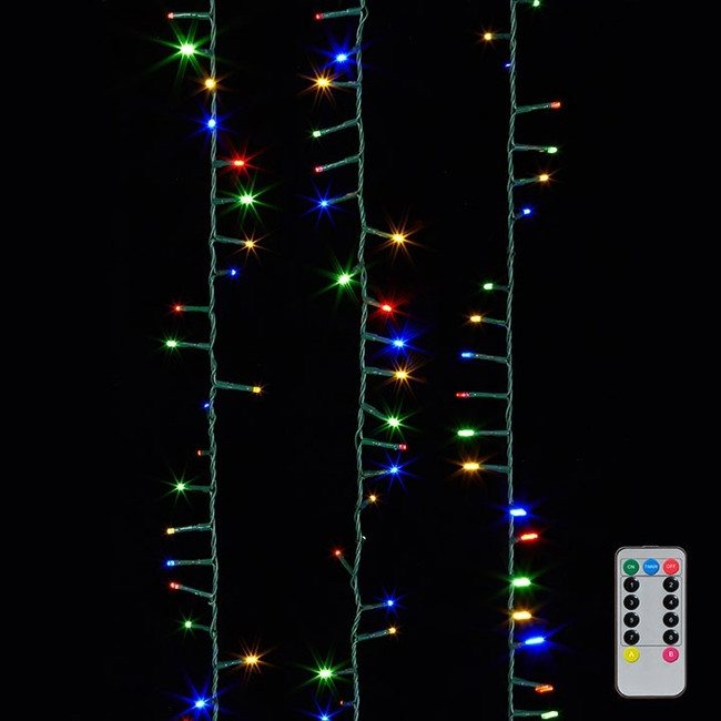 Raz 36.5' Multi Color Compact LED 500 Light  Garland with Green Wire & Remote G3737067