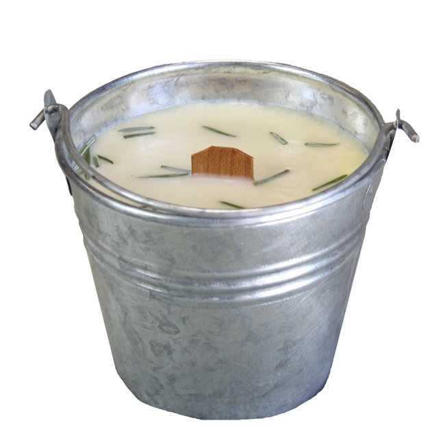 Bedrock Tree Farm Natural Fir Needle Wood Wick Soy Candle in Galvanized Pail P12N