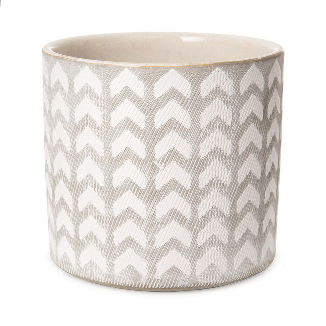"5"" White and Grey Patterned Planter Pot 30042122"