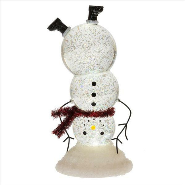 "9.75"" LED Lighted Upside Down Snowman Shimmering Water Globe Christmas Figure"
