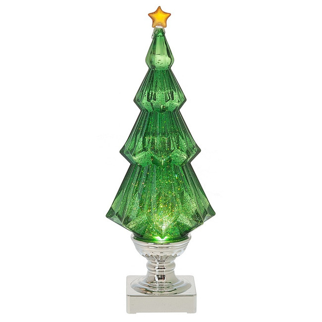 "14"" Battery Operated LED Lighted Green Shimmering Water Globe Christmas Tree 142741"