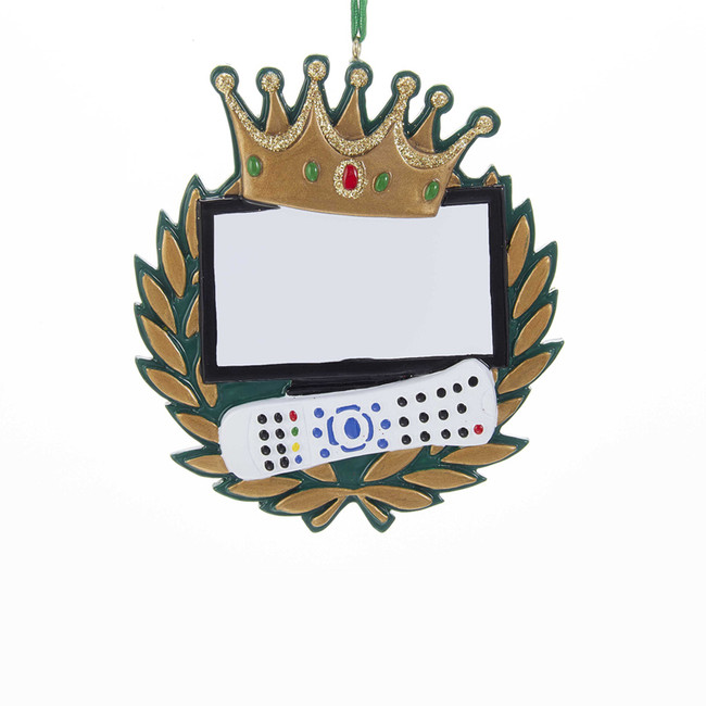 """Kurt Adler 3.75"""" King Of The Remote Personalized Christmas Ornament W8213"""