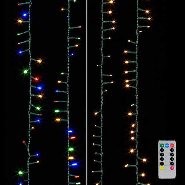 Raz 73.8' Warm White and Multicolor Compact Cluster Lights on a Green Wire G3837077