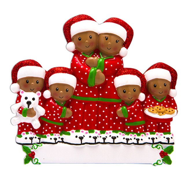 African American Family of 6 Personalized Christmas Ornament