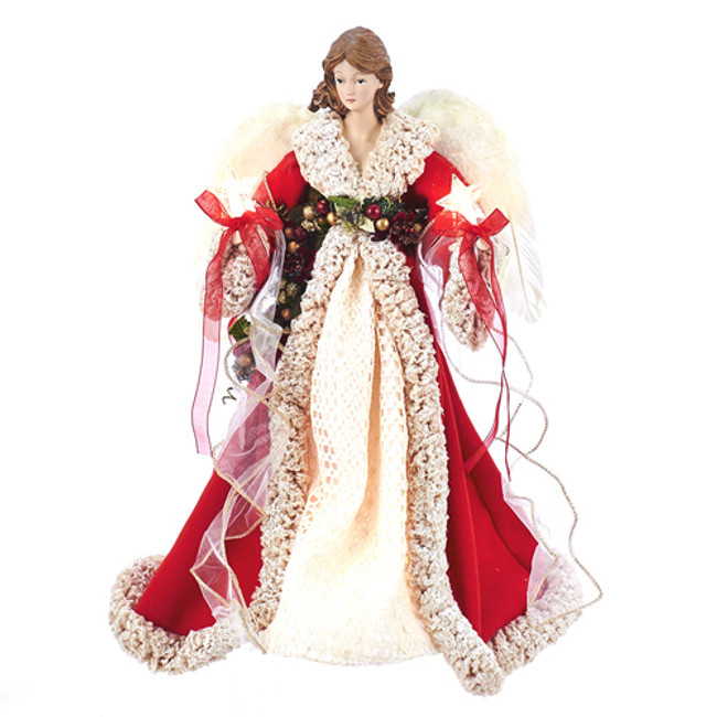 """16"""" Red and Ivory Angel Christmas Tree Topper UL2218"""