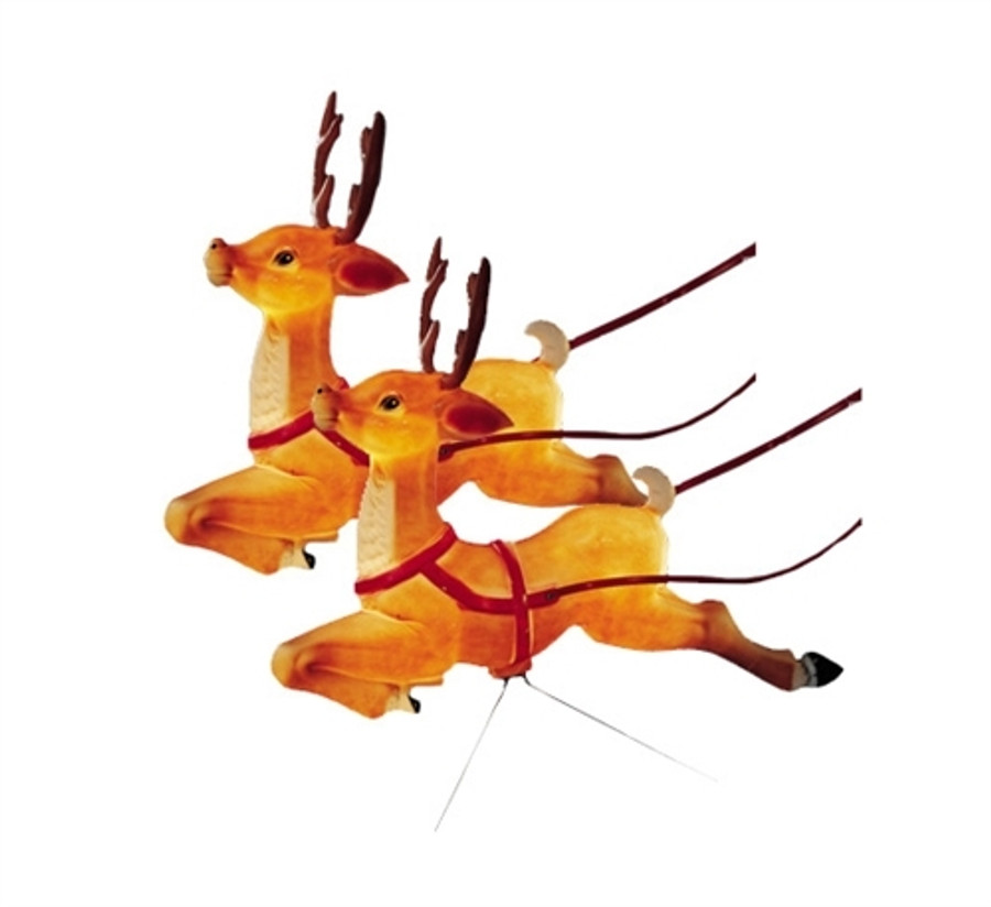 set of 2 reindeer lighted blow mold decorations c6490 - Reindeer Images 2