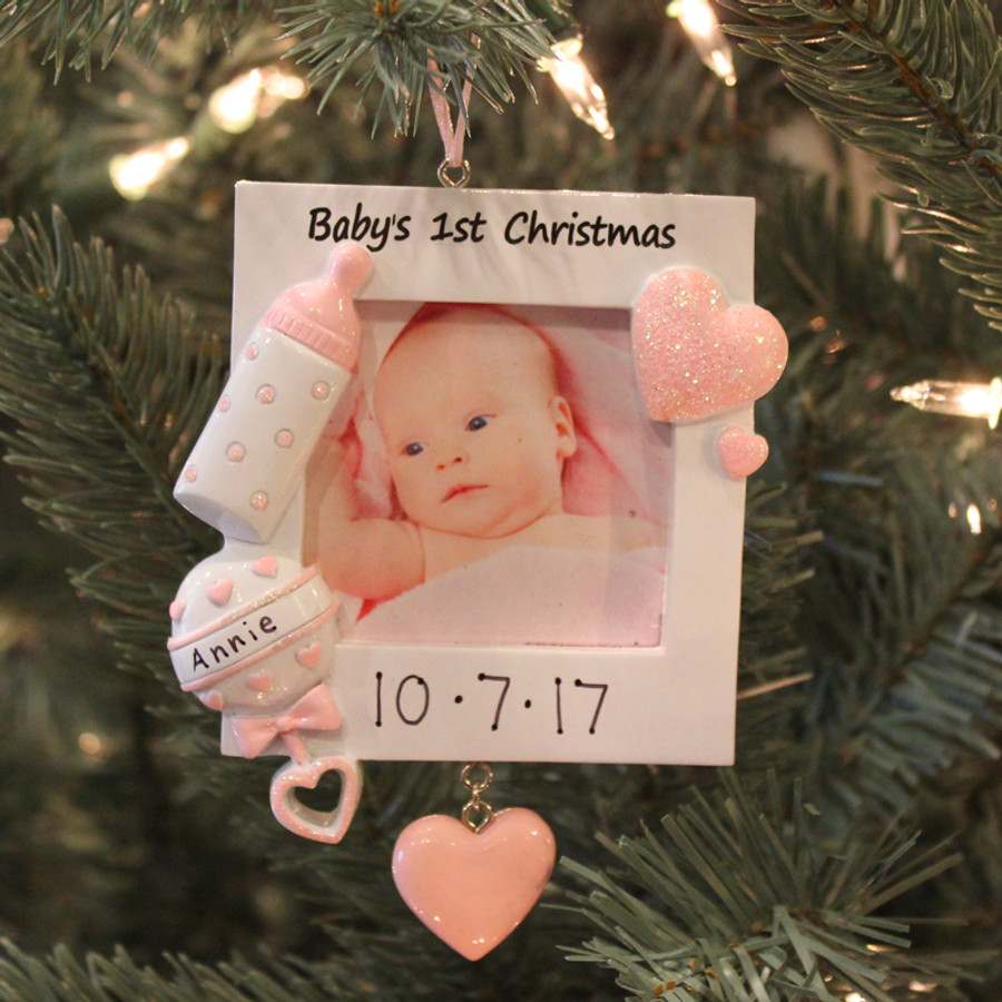 Personalized Baby\'s First Christmas Pink Frame Ornament PF600