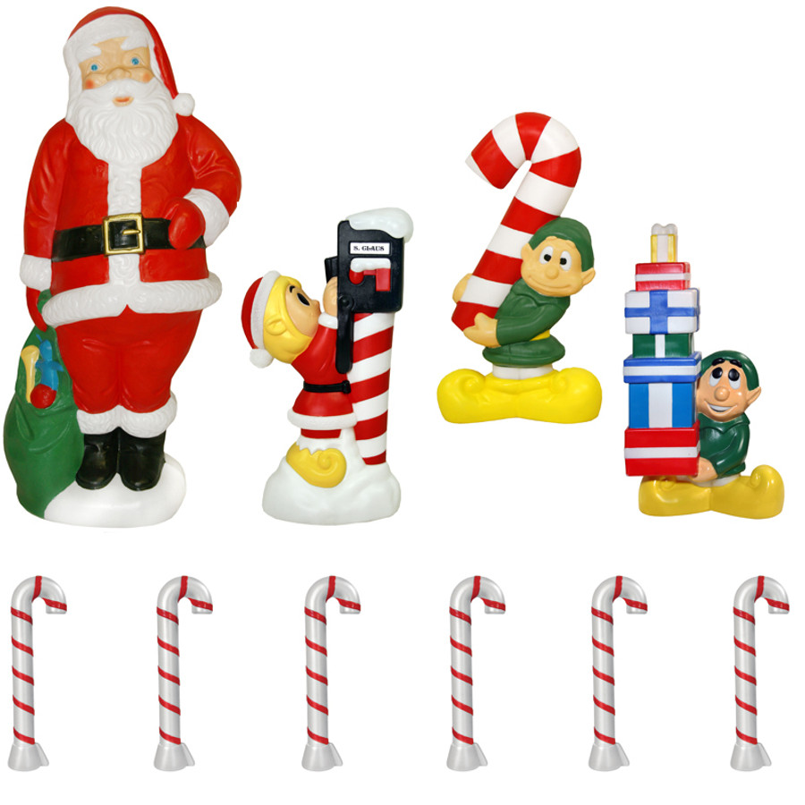 60 santa and elf 10 piece lighted christmas blow mold set - Christmas Blow Mold