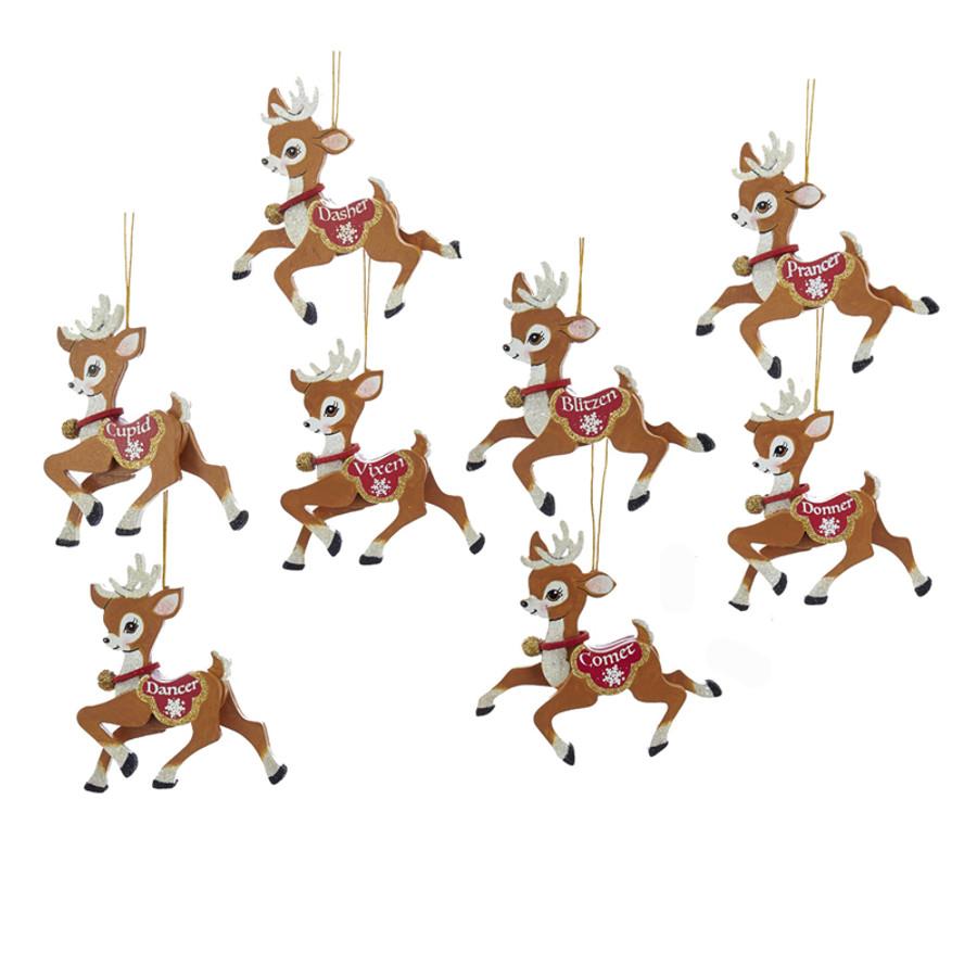 Kurt Adler 4 Quot Wooden Santa S Reindeer Christmas Ornament