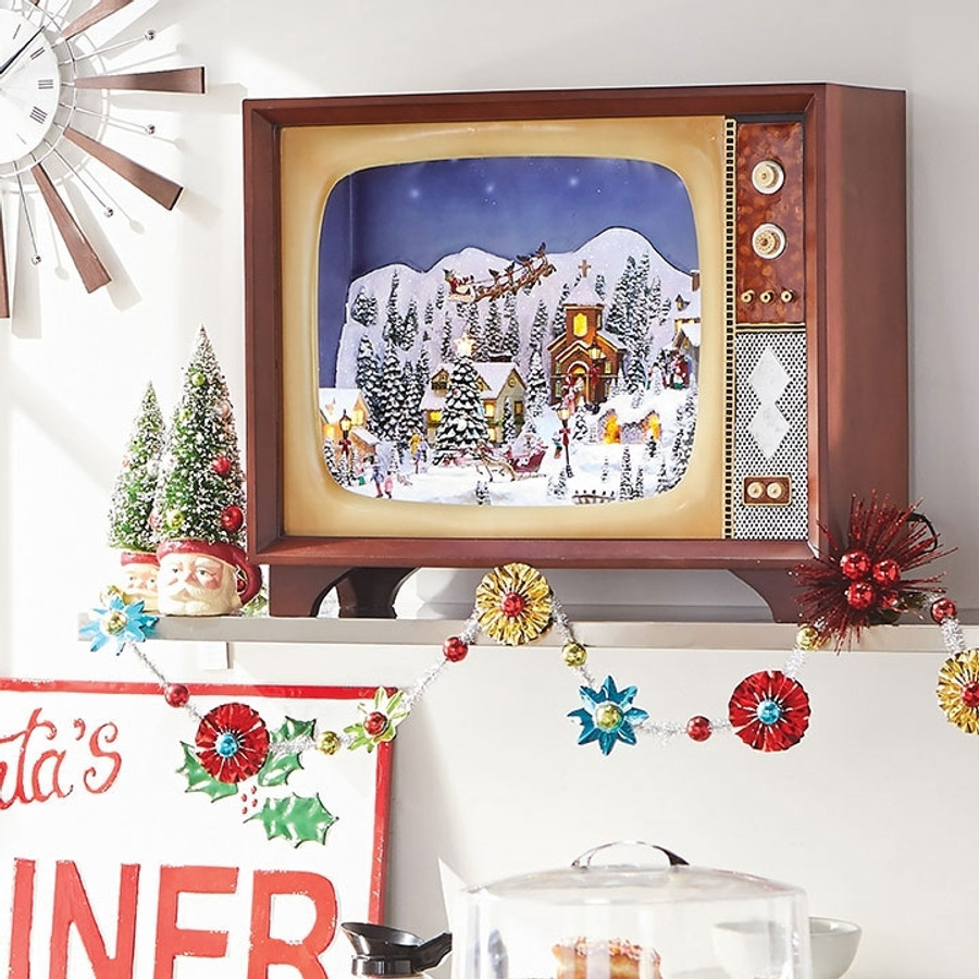 raz 23 large animated musical lighted retro tv with village scene 3716477 - Musical Animated Christmas Decorations