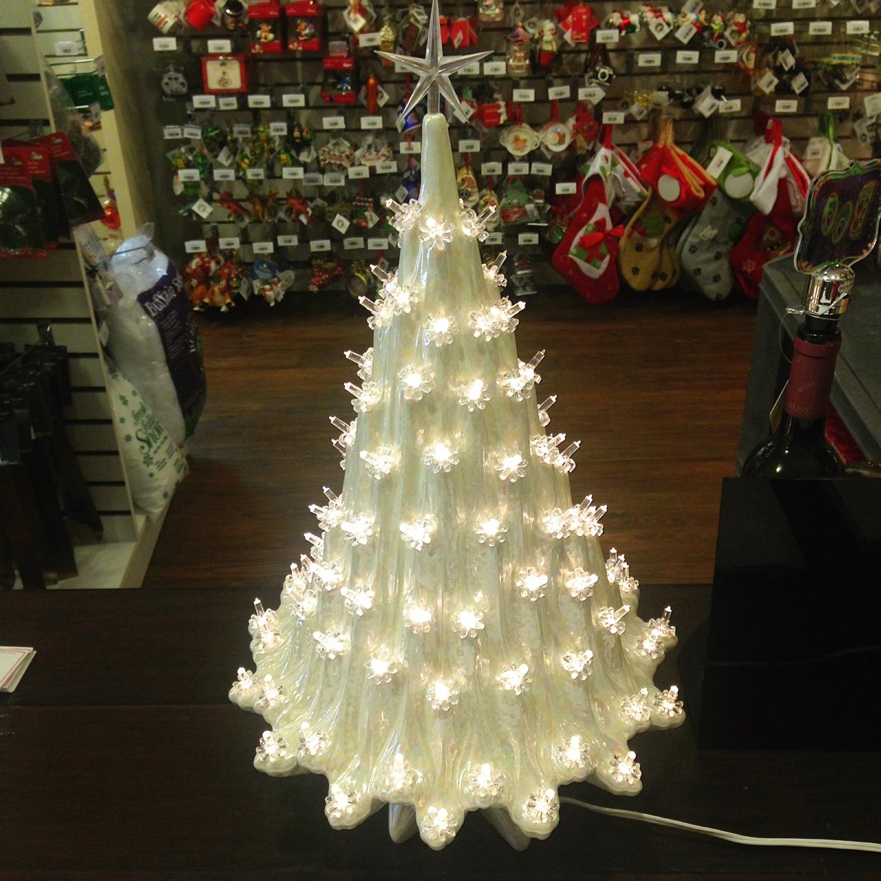 "Lighted Christmas Carolers Ceramic Decoration By: Large Lighted White Ceramic Ice Christmas Tree 23"""