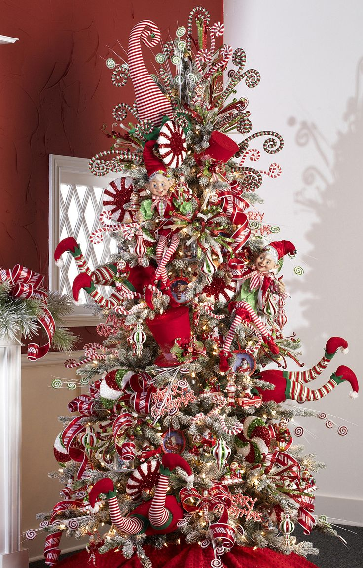 this tree has all the things that make santa happy it has a color pallet of red and white with small hints of green and blue