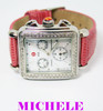 MICHELE DECO Chronograph Watch Diamond Bezel Mother of Pearl Dial MV06A01