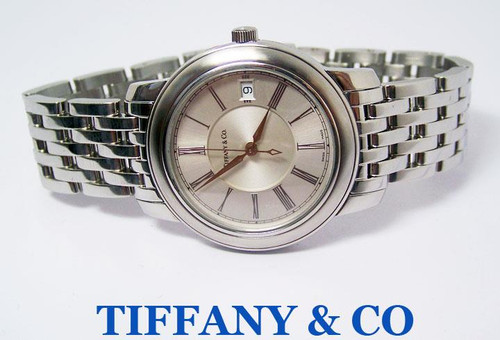 Mens S/Steel TIFANY & Co Atlas Dome Automatic Watch 37 mm* MINT* Original Box